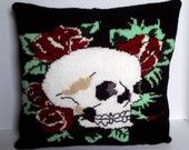 "Tattoo style skull and rose design. 18""  Gothic hand knitted decorative pillow / cushion cover."