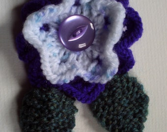 OOAK hand knitted flower brooch pin. Royal purple and white multi. On Sale