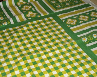 Sixties cotton tablecloth, The Ryans by Fallani and Cohn, bright green