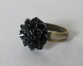 Black Ring Flower Ring Chrysanthemum Ring Gothic Jewelry Gothic Ring Black Jewelry Women Jewelry Gift Adjustable Ring Customized Ring Nature