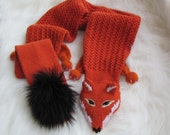 Hand knit scarf for women, Faux Fox Scarf, Foxy Fox, Reddish Brown, Point Snout and Slanting Eyes - Medium (made to order)
