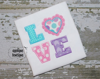 INSTANT DOWNLOAD, Machine Applique Design, LOVE