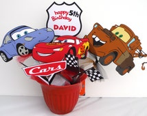Cars Lightening McQueen Themed  Party Centerpiece Sticks Set of 6 Personalized With Name and Age