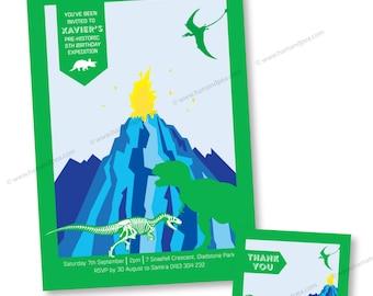 Dinosaur Dig Printable Invitation Set (Blue and Green Colourway)