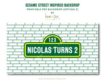 Sesame Street Inspired Backdrop (printable file option 3)