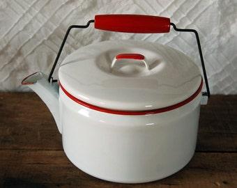 Vintage Red Rimmed Enamelware Kettle