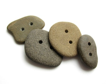 Beach Stone Buttons - Double Drilled Sea Pebbles - Earthy Palette