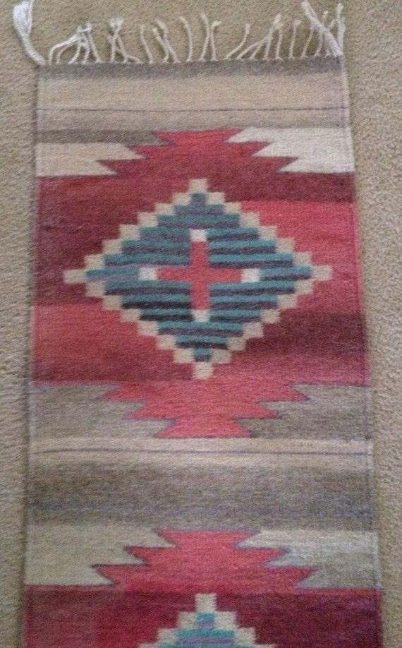 Hand Woven Southwestern Rug Pastel Tone By Startathomevintage