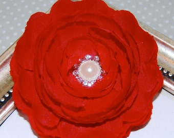 Red Fabric Flower  3 1/2'' silk flowers with pearl and diamond rhinestone center - Camellia Ann -  hair flower headband flower