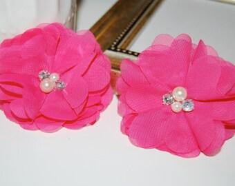 "Chiffon Flowers - Hot Pink Fushia  with rhinestones  pearl centers - (4 pcs) Whitney shabby chiffon flowers 2.75"""