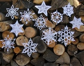 Set of Six Hand Crocheted White Snowflake Ornaments for Winter and Holiday Decorating