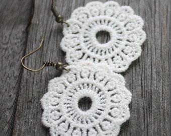 Lace Doily Earrings - Brass, lace earrings, boho earrings, bohemian earrings, lace jewelry, fiber earrings, fiber jewelry, vintage style