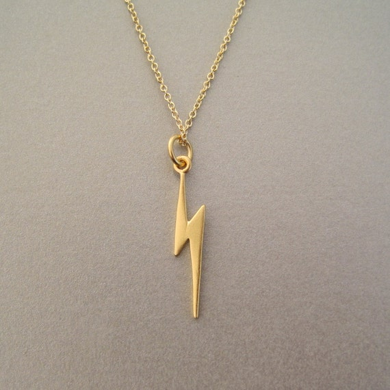 lightning bolt charm necklace by tangerinejewelryshop on etsy