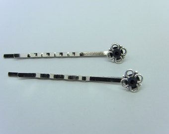 Silver Flower & Jet Black crystal Bobby Pins