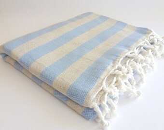 SALE 50% OFF BATH Turkish Towel, Natural Soft Cotton Peshtemal, Hammam, Bath and Beauty, spa, yoga, beach, Beige with Blue, mom, bridesmaid