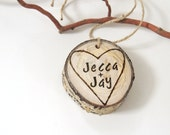 Personalized Wood Heart, Wood Heart, Tree Slice, Wood Heart Valentine, Wood Card Initials, Personalized Aspen Wood Valentine