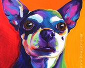 Chihuahua, Pet Portrait, DawgArt, Dog Art, Pet Portrait Artist, Colorful Pet Portrait, Chihuahua Art, Pet Portrait Painting, Art Prints