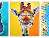 Giraffe, Zebra, Elephant, Zoo Animal, African Wildlife, Giraffe Painting, Zebra Painting, Elephant Painting, Zoo Animal Art, Art Prints