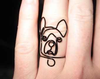 Wire Wrapped Boston Terrier or Any Dog Head MADE to ORDER Ring