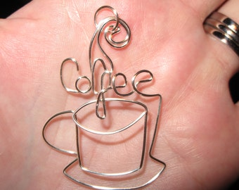 Wire Wrapped Coffee Spelled Coffee Cup Pendant MADE to ORDER
