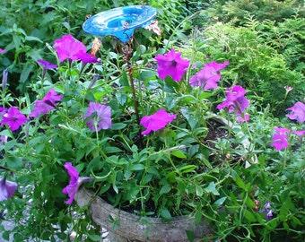 CONTAINER GARDENING, Butterfly Feeder, stained glass,  Teal BLUE, copper, garden stake, Garden Art