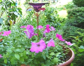 """CONTAINER GARDENING, Butterfly Feeder, stained glass,  4.5"""" diameter, PLUM Purple, copper, garden stake, Garden Art"""