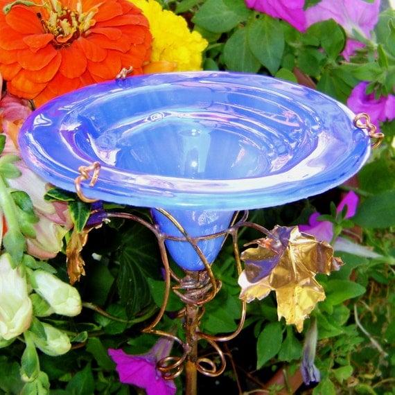 GET WELL Gift, Stained Glass BUTTERFLY Feeder, copper, Cerulean Blue, Home Decor, Suncatcher, Yard Art