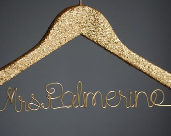 Personalized Gold Glitter Hanger, Lingerie Shower Decoration, Glitter Wedding Dress Hanger, Gift Under 50, Bridal Wire Hanger, Mrs Hanger