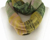 Infinity Scarf Knitted in Green and Light Brown