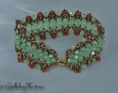 Green and Bronze Bead Woven Bracelet