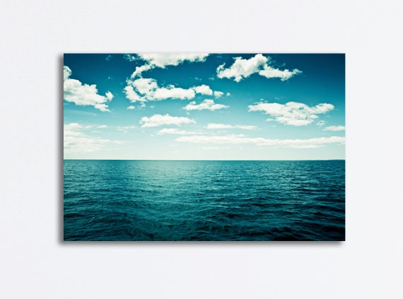 "Ocean Canvas Wrap, seascape photography dark blue canvas print teal white beach coastal wall art landscape photograph ""The Spell of the Sea"""