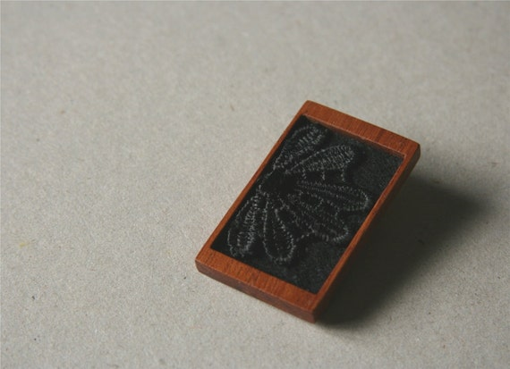 Black Lace Bloom on Black Felt Wooden Brooch, Lace and Mahogany Series