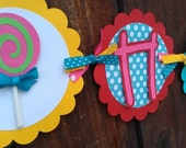 Candyland, sweet treats Birthday banner in bright colors, Candy, lollipop and/or Cupcake theme.