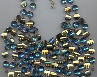 Dazzling Anne Kaye runway necklace - double stranded bermuda blue pagoda beads with cascading strands of even more pagoda beads