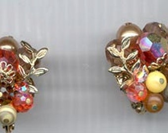 Beautiful vintage Vendome earrings - orange, brown, and yellow