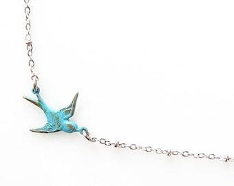 rustic blue bird necklace, rustic wedding jewelry, verdigris patina necklace, bridesmaid gift, tiny bird necklace, rustic jewelry sideways