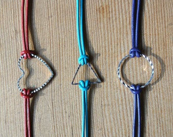 Customized Silver Sparkle Heart, Triangle or Circle Bracelet with your color choice of leather, Stacking Bracelet