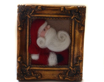 Needle Felted Santa- Christmas Decor - Santa Claus - Christmas