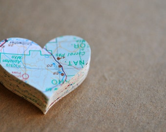 Map Hearts // Set of 50 // Embellishment // Confetti // Decoration // Ephemera // Scrapbooking // Paper Crafting