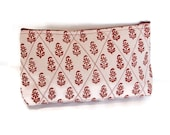 Hand block printed cotton quilted cosmetic pouch small bag case white red flowers zipper