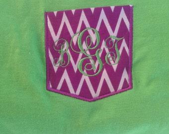Monogrammed purple chevron/zig zag pocket appliquéd t-shirt