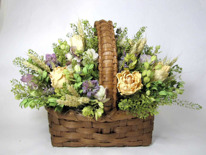Dried Floral Arrangement Dried Flowers Basket Arrangement