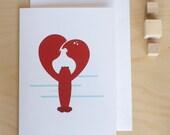Lobster Love card (blank)