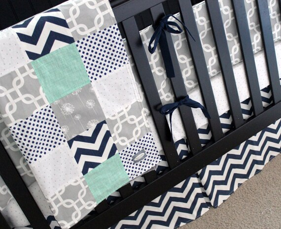 Navy Grey Nursery Bedding Set Baby Boy Crib Mint