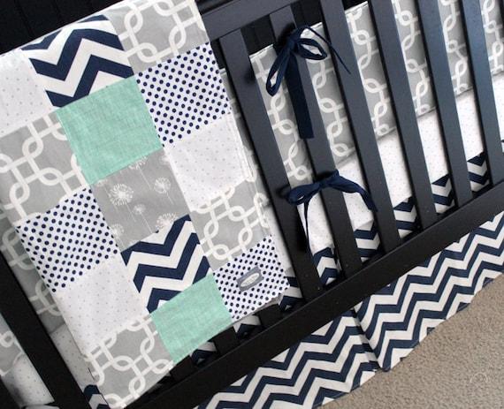 Navy Grey Nursery Bedding Set Baby Boy Crib Bedding Mint