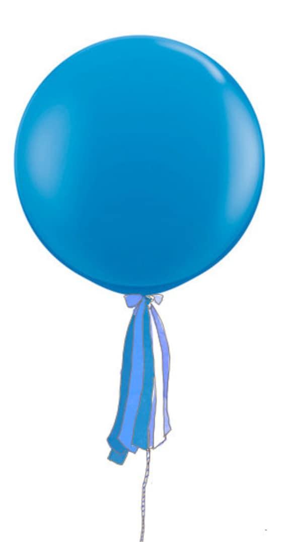 3 Foot Round Designer Balloon Bright Blue w/Tassel