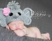 Baby Elephant Hat, Newborn Photo Prop, Newborn Elephant Hat, Crochet Elephant Hat, Baby Photo Prop, Baby Shower Gift, Crochet Animal Hat