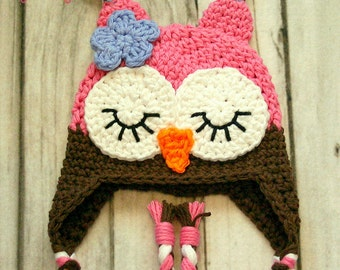 Newborn Sleepy Owl Hat, Newborn Photography Prop, Baby Owl Hat, Crochet Sleepy Owl Hat, Crochet Owl Hat, Baby Shower Gift, Toddler Owl Hat