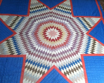 1940s Texas Lone Star Quilt from Brimfield MA  6 by 7 feet.