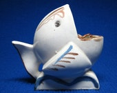 art deco style FISH pottery ashtray from japan open mouth